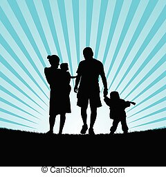 family hapy with children walking in nature silhouette illustration
