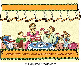 Family have lunch with delicious sandwiches with sausages.
