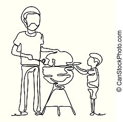 Family having a barbecue party, father and son standing around the grill. Continuous line drawing. Vector monochrome, drawing by lines. Happiness in the Everyday