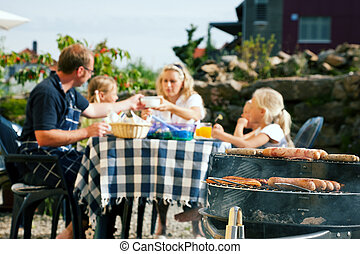 Family having a barbecue party - Family having a barbecue in...