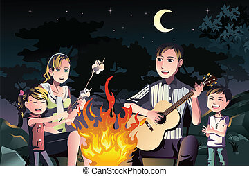 A vector illustration of a happy family having a bonfire outdoor