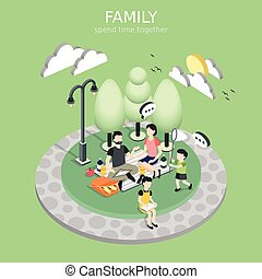 family having a picnic concept
