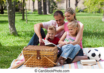 Family having a picnic in a park