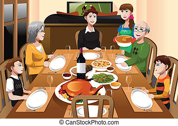 Family having a Thanksgiving dinner - A vector illustration ...
