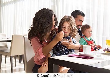 Family having breakfast