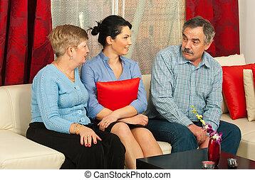 Family having conversation home