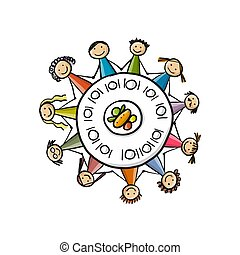 Family having dinner at round table. Vector illustration