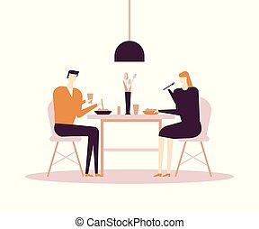 Family having dinner - flat design style colorful illustration