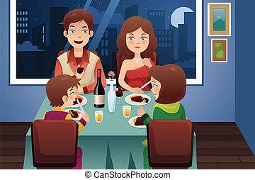 Family having dinner in a modern house - A vector ...