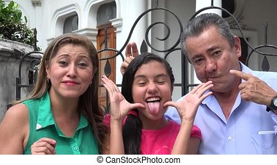 Family Having Fun and Acting Silly