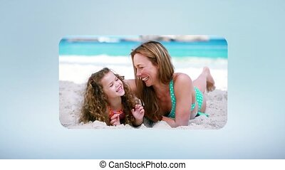 Family having fun at the beach montage scrolled through by...