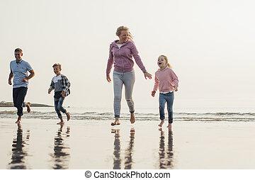 Family Having Fun at the Beach