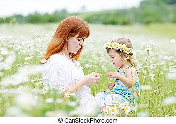 fun in field of daisies