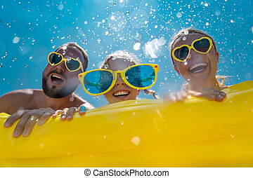 Family having fun on summer vacation