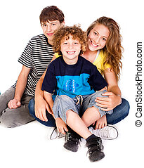 Family having fun on the floor