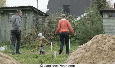 Family having fun outdoors.