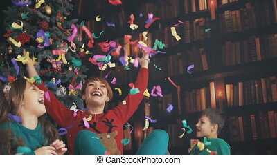 Family Having Fun with Confetti