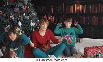 Family Having Fun with Confetti
