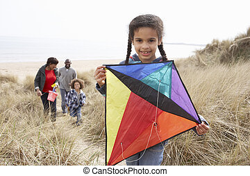 Family Having Fun With Kite In Sand Dunes