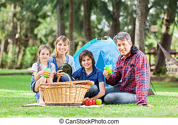 Family Having Good Time In Park - Portrait of smiling family...