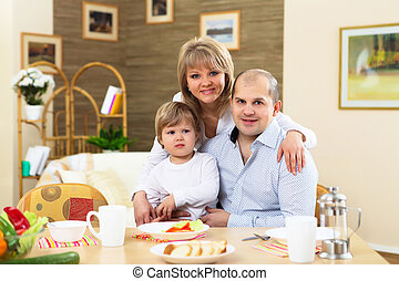 family having meal at home