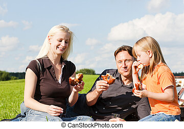 Family having picnic - Family - father, mother and daughter...