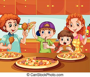 Family having pizza in kitchen