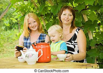 Family having tea