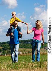Family having walk on meadow