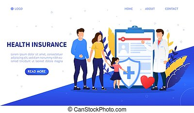 Family health insurance concept. A young happy family comes to insure. Attractive characters buy a family health insurance plan. Family protection. Professional medical consultation. Flat Illustration