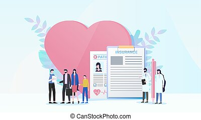 Family health insurance flat vector concept