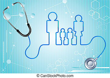illustration of family icon with stethoscope on abstract medical background