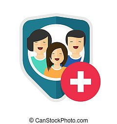 Family health insurance vector shield or medical life health care private protection guard flat cartoon icon sign, concept of household safety defence coverage symbol or help risk assistance design