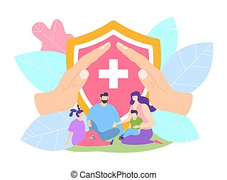 Family health insurance with clinic, life protection concept vector illustration. Parent and children protected by hospital.
