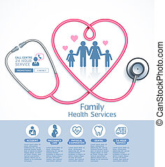 Family health services vector illustrations.