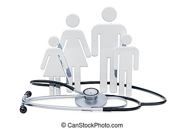 Family healthcare and medical insurance concept. 3D rendering