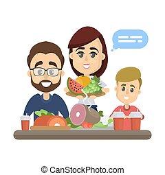 Family healthy eating. - Family healthy eating and sitting...