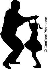 family., heureux, silhouettes., danse