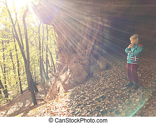 Family hike in autumn forest in Rheinland Pfalz - Family...