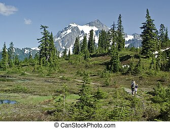 A family hikes a path along picture lake in northern Washington State with Mt. Shuksan in the background.
