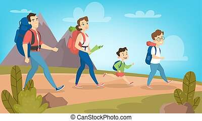 Family Hiking Outdoors With