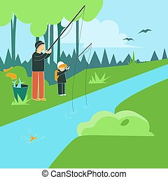 Family hiking outdoors with backpacks. Cartoon vector illustration