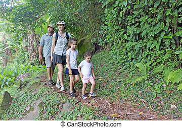 Family hiking the Cross Island Track in the rain forest of a tropical pacific island