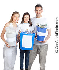 Family Holding Recycle Bin - Portrait of happy couple...