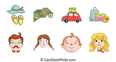 Family holiday icons in set collection for design. Recreation and equipment. vector symbol stock web illustration.