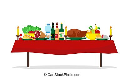 Family holiday or Christmas dinner table.