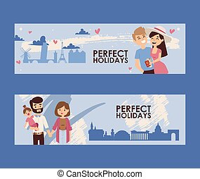 Family holidays banner, vector illustration. Young couple romantic journey, sightseeing tour around Europe. Travel agency special offer for family vacation