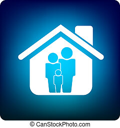 Family home - Family inside a house icon