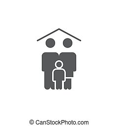 Family home icon, color, line, outline vector sign, linear ...