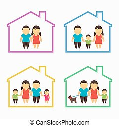 Family home icons set